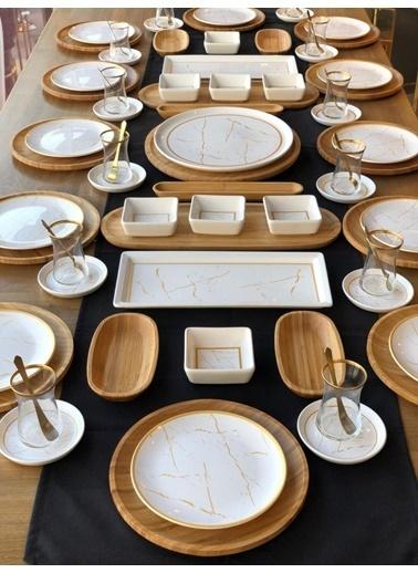 ROSSEV Kahvaltı Takımı Beyaz Mermer 80 Parça 12 Kişilik Renkli